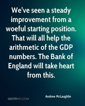 Andrew McLaughlin - We've seen a steady improvement from a woeful starting position. That will all help the arithmetic of the GDP numbers. The Bank of England will take heart from this.