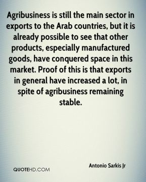 Antonio Sarkis Jr - Agribusiness is still the main sector in exports to the Arab countries, but it is already possible to see that other products, especially manufactured goods, have conquered space in this market. Proof of this is that exports in general have increased a lot, in spite of agribusiness remaining stable.
