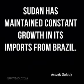 Sudan has maintained constant growth in its imports from Brazil.