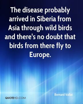 Bernard Vallat - The disease probably arrived in Siberia from Asia through wild birds and there's no doubt that birds from there fly to Europe.