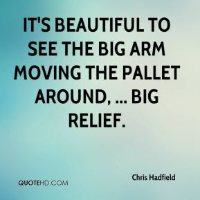 Chris Hadfield - It's beautiful to see the Big Arm moving the pallet around, ... Big relief.