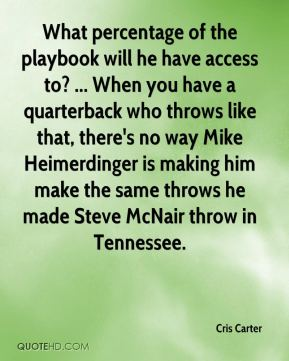 Cris Carter - What percentage of the playbook will he have access to? ... When you have a quarterback who throws like that, there's no way Mike Heimerdinger is making him make the same throws he made Steve McNair throw in Tennessee.