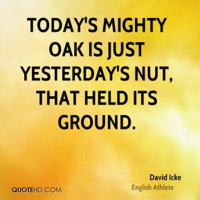 David Icke - Today's mighty oak is just yesterday's nut, that held its ground.