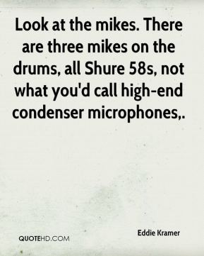 Look at the mikes. There are three mikes on the drums, all Shure 58s, not what you'd call high-end condenser microphones.