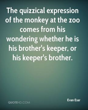 Evan Esar - The quizzical expression of the monkey at the zoo comes from his wondering whether he is his brother's keeper, or his keeper's brother.