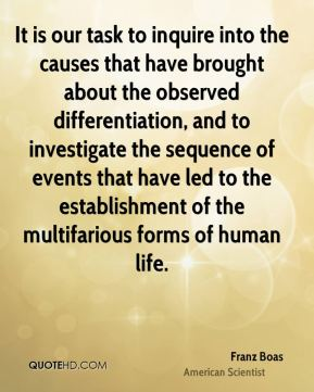 It is our task to inquire into the causes that have brought about the observed differentiation, and to investigate the sequence of events that have led to the establishment of the multifarious forms of human life.