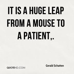 Gerald Schatten - It is a huge leap from a mouse to a patient.