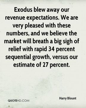 Harry Blount - Exodus blew away our revenue expectations. We are very pleased with these numbers, and we believe the market will breath a big sigh of relief with rapid 34 percent sequential growth, versus our estimate of 27 percent.