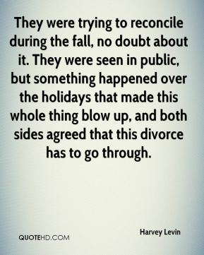 Harvey Levin - They were trying to reconcile during the fall, no doubt about it. They were seen in public, but something happened over the holidays that made this whole thing blow up, and both sides agreed that this divorce has to go through.