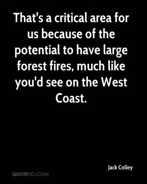 That's a critical area for us because of the potential to have large forest fires, much like you'd see on the West Coast.