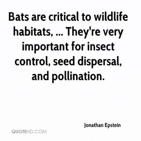 Jonathan Epstein  - Bats are critical to wildlife habitats, ... They're very important for insect control, seed dispersal, and pollination.