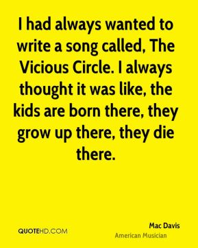 I had always wanted to write a song called, The Vicious Circle. I always thought it was like, the kids are born there, they grow up there, they die there.