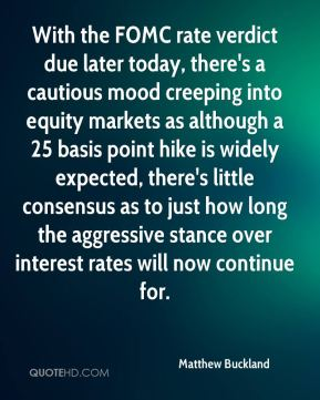 Matthew Buckland  - With the FOMC rate verdict due later today, there's a cautious mood creeping into equity markets as although a 25 basis point hike is widely expected, there's little consensus as to just how long the aggressive stance over interest rates will now continue for.