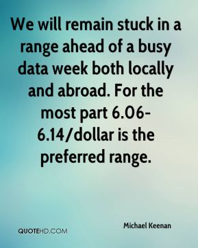Michael Keenan  - We will remain stuck in a range ahead of a busy data week both locally and abroad. For the most part 6.06-6.14/dollar is the preferred range.