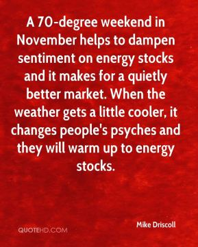 Mike Driscoll  - A 70-degree weekend in November helps to dampen sentiment on energy stocks and it makes for a quietly better market. When the weather gets a little cooler, it changes people's psyches and they will warm up to energy stocks.
