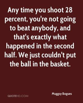 Muggsy Bogues  - Any time you shoot 28 percent, you're not going to beat anybody, and that's exactly what happened in the second half. We just couldn't put the ball in the basket.