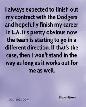 Shawn Green  - I always expected to finish out my contract with the Dodgers and hopefully finish my career in L.A. It's pretty obvious now the team is starting to go in a different direction. If that's the case, then I won't stand in the way as long as it works out for me as well.