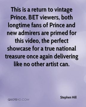 This is a return to vintage Prince. BET viewers, both longtime fans of Prince and new admirers are primed for this video, the perfect showcase for a true national treasure once again delivering like no other artist can.