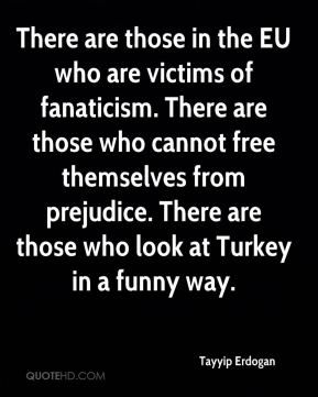 There are those in the EU who are victims of fanaticism. There are those who cannot free themselves from prejudice. There are those who look at Turkey in a funny way.