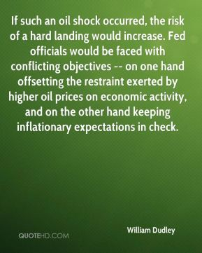 William Dudley  - If such an oil shock occurred, the risk of a hard landing would increase. Fed officials would be faced with conflicting objectives -- on one hand offsetting the restraint exerted by higher oil prices on economic activity, and on the other hand keeping inflationary expectations in check.