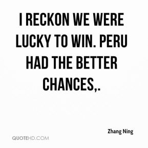 I reckon we were lucky to win. Peru had the better chances.