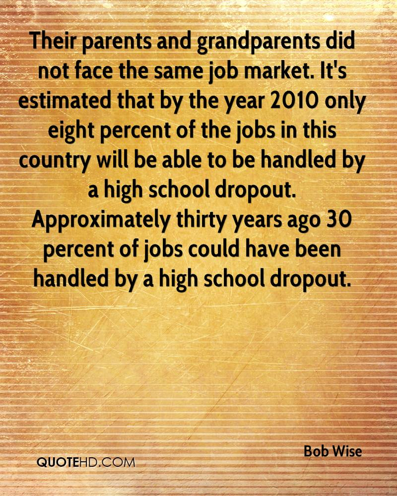 Their parents and grandparents did not face the same job market. It's estimated that by the year 2010 only eight percent of the jobs in this country will be able to be handled by a high school dropout. Approximately thirty years ago 30 percent of jobs could have been handled by a high school dropout.