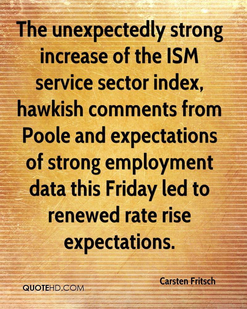 The unexpectedly strong increase of the ISM service sector index, hawkish comments from Poole and expectations of strong employment data this Friday led to renewed rate rise expectations.