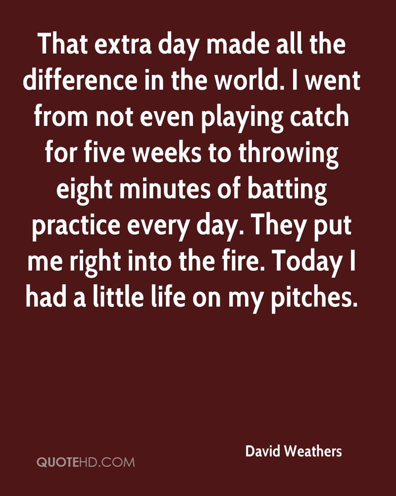 That extra day made all the difference in the world. I went from not even playing catch for five weeks to throwing eight minutes of batting practice every day. They put me right into the fire. Today I had a little life on my pitches.