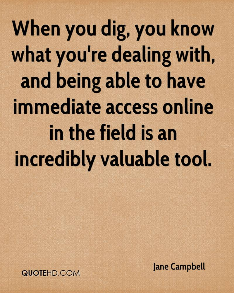 When you dig, you know what you're dealing with, and being able to have immediate access online in the field is an incredibly valuable tool.
