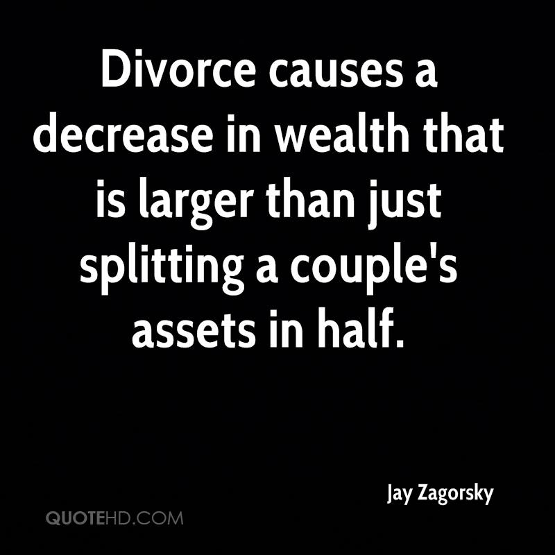 Divorce causes a decrease in wealth that is larger than just splitting a couple's assets in half.