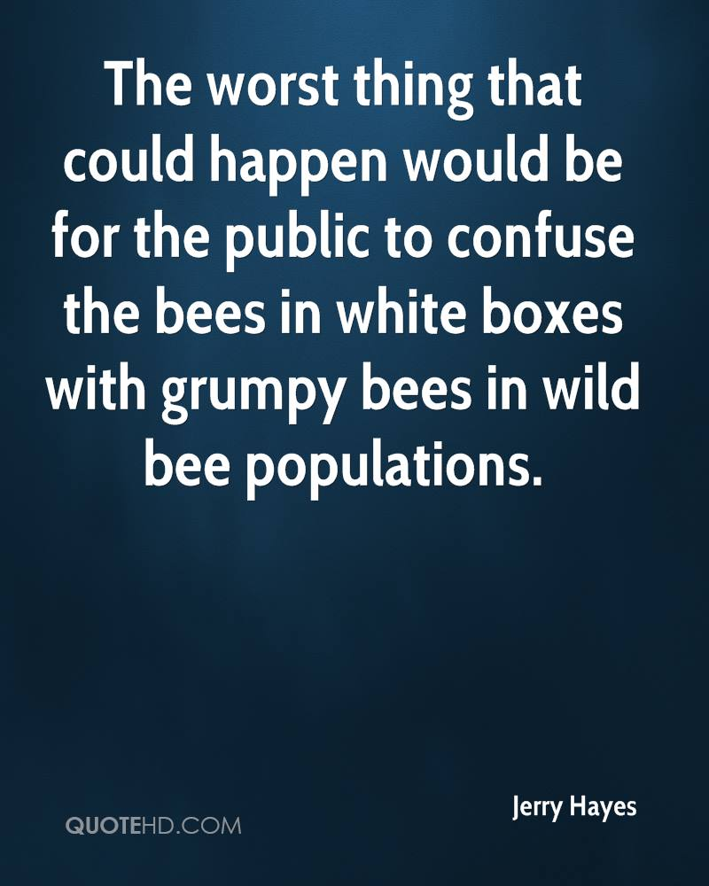 The worst thing that could happen would be for the public to confuse the bees in white boxes with grumpy bees in wild bee populations.