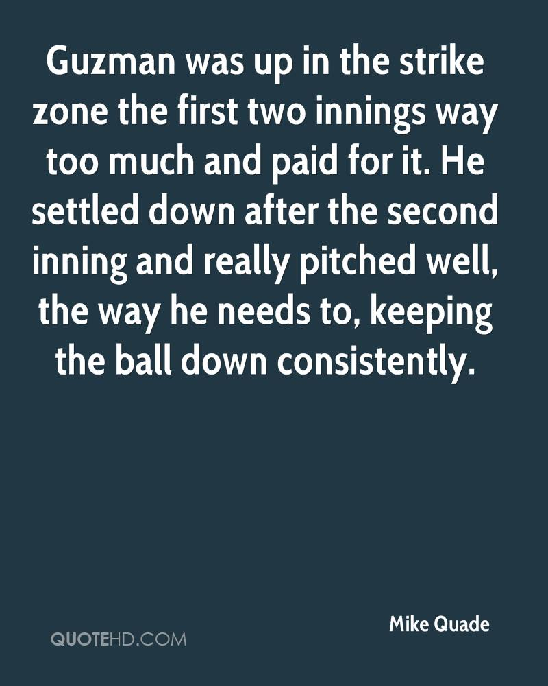 Guzman was up in the strike zone the first two innings way too much and paid for it. He settled down after the second inning and really pitched well, the way he needs to, keeping the ball down consistently.