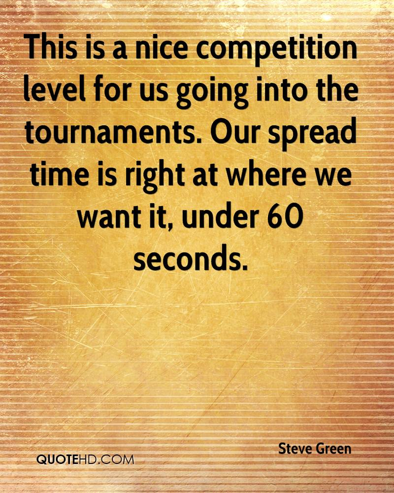 This is a nice competition level for us going into the tournaments. Our spread time is right at where we want it, under 60 seconds.