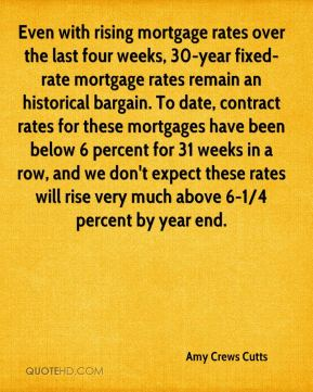 Amy Crews Cutts - Even with rising mortgage rates over the last four weeks, 30-year fixed-rate mortgage rates remain an historical bargain. To date, contract rates for these mortgages have been below 6 percent for 31 weeks in a row, and we don't expect these rates will rise very much above 6-1/4 percent by year end.