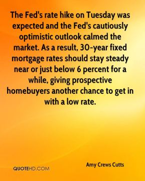 Amy Crews Cutts - The Fed's rate hike on Tuesday was expected and the Fed's cautiously optimistic outlook calmed the market. As a result, 30-year fixed mortgage rates should stay steady near or just below 6 percent for a while, giving prospective homebuyers another chance to get in with a low rate.