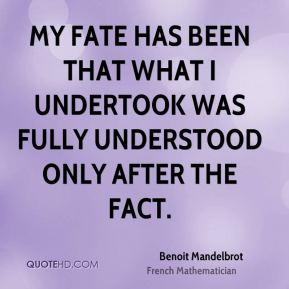 My fate has been that what I undertook was fully understood only after the fact.