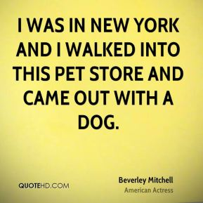 I was in New York and I walked into this pet store and came out with a dog.