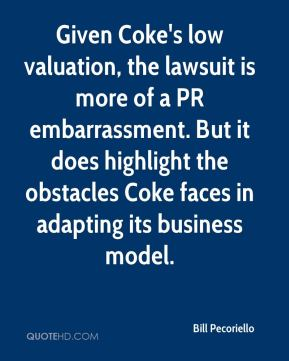 Given Coke's low valuation, the lawsuit is more of a PR embarrassment. But it does highlight the obstacles Coke faces in adapting its business model.