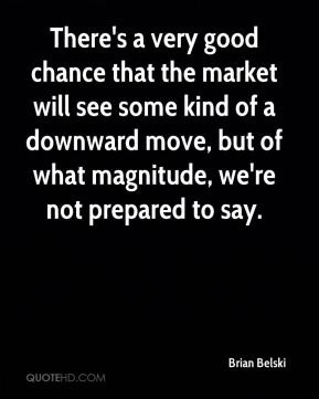 There's a very good chance that the market will see some kind of a downward move, but of what magnitude, we're not prepared to say.