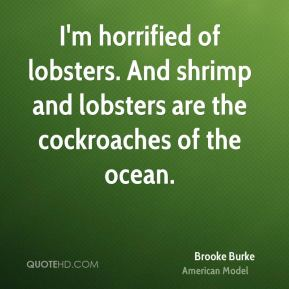 Brooke Burke - I'm horrified of lobsters. And shrimp and lobsters are the cockroaches of the ocean.