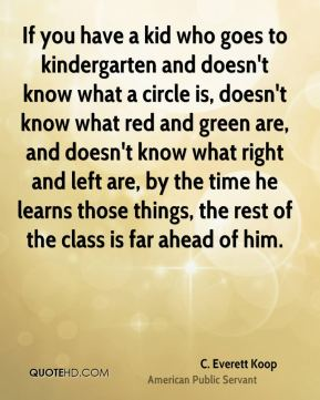 If you have a kid who goes to kindergarten and doesn't know what a circle is, doesn't know what red and green are, and doesn't know what right and left are, by the time he learns those things, the rest of the class is far ahead of him.
