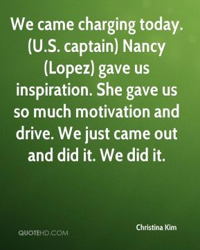 Christina Kim - We came charging today. (U.S. captain) Nancy (Lopez) gave us inspiration. She gave us so much motivation and drive. We just came out and did it. We did it.
