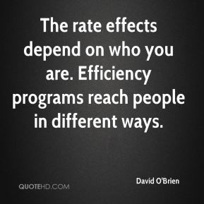 The rate effects depend on who you are. Efficiency programs reach people in different ways.