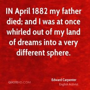 IN April 1882 my father died; and I was at once whirled out of my land of dreams into a very different sphere.