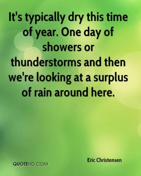 Eric Christensen - It's typically dry this time of year. One day of showers or thunderstorms and then we're looking at a surplus of rain around here.