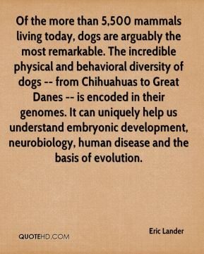 Eric Lander - Of the more than 5,500 mammals living today, dogs are arguably the most remarkable. The incredible physical and behavioral diversity of dogs -- from Chihuahuas to Great Danes -- is encoded in their genomes. It can uniquely help us understand embryonic development, neurobiology, human disease and the basis of evolution.