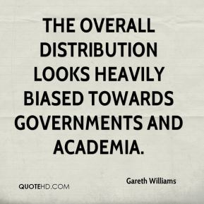 Gareth Williams - The overall distribution looks heavily biased towards governments and academia.