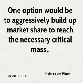 Heinrich von Pierer - One option would be to aggressively build up market share to reach the necessary critical mass.
