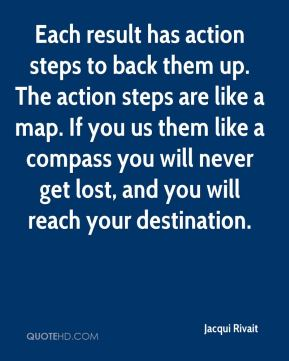 Jacqui Rivait - Each result has action steps to back them up. The action steps are like a map. If you us them like a compass you will never get lost, and you will reach your destination.