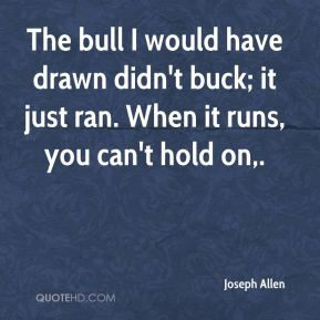 The bull I would have drawn didn't buck; it just ran. When it runs, you can't hold on.